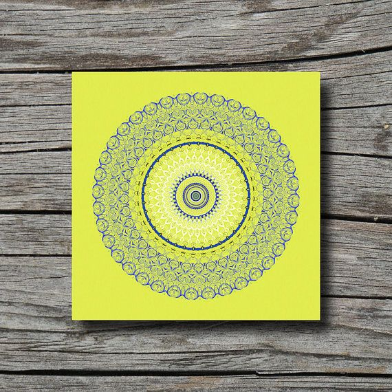Geometric decor print bright color art white navy blue artwork lime ...