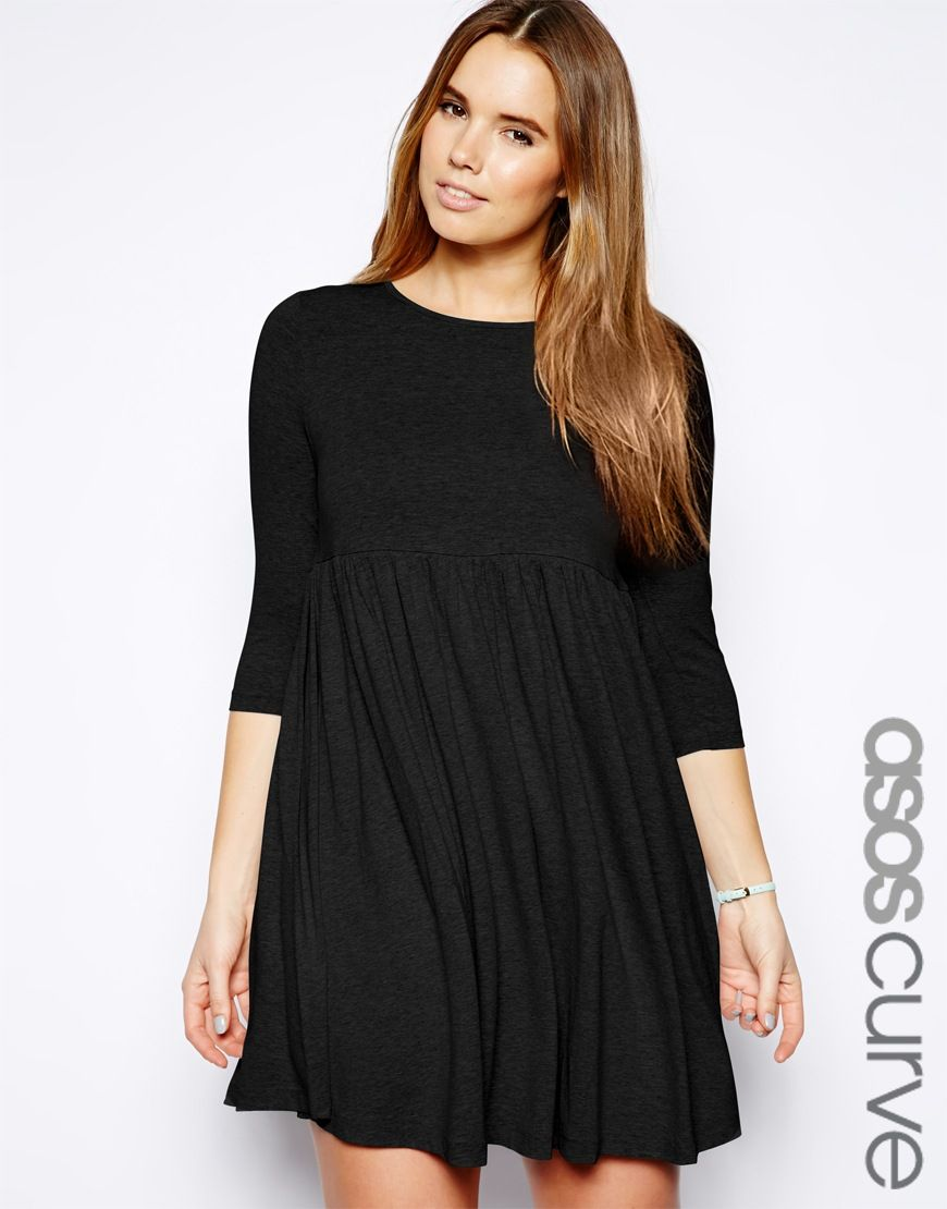 Black jersey smock dress fashion