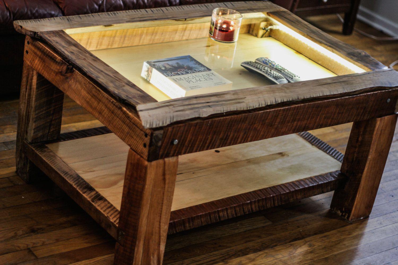 Live Edge Maple Shadow Box Coffee Table Coffee Table Shaddow Box