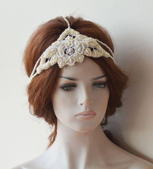 Photo of Hochzeit Perle Haarband, İvory Pearl Haarteil, Hochzeit Perle Kopfschmuck, Perle Stirnband für Hochzeit, Elfenbein Farbe Haarschmuck, 1920er Jahre