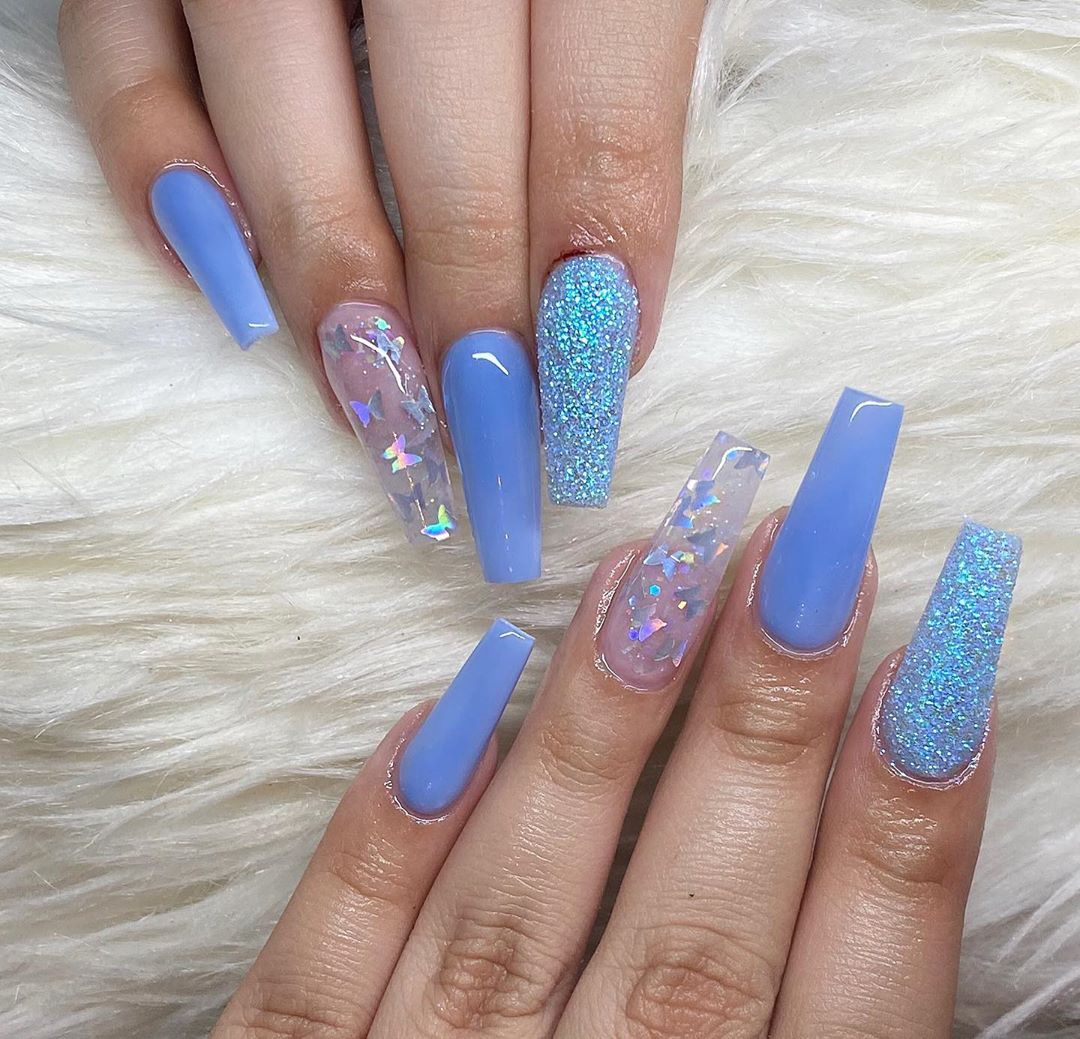 35 Trendy Blue Color Nails Will Inspire You In 2020 Ibaz In 2020 Spring Acrylic Nails Blue Acrylic Nails Blue Nail Designs