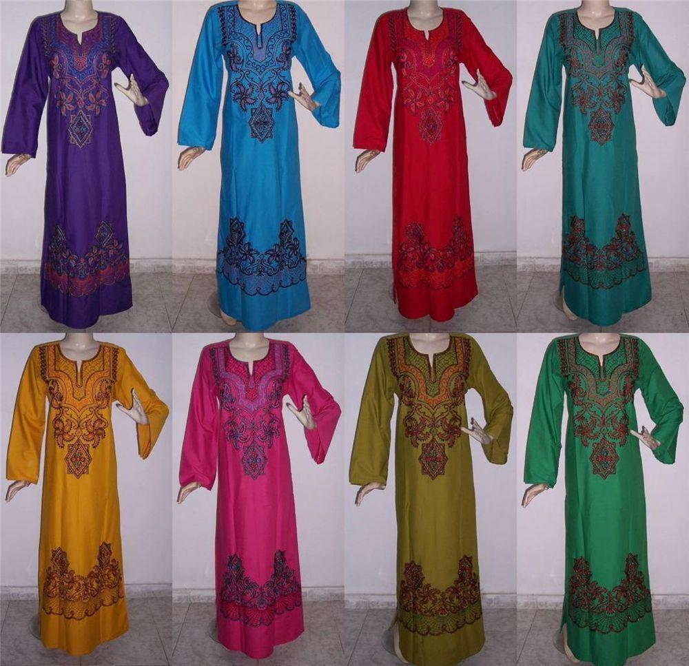 Egyptian Cotton Embroidered Kaftan Caftan Jilbab Arabic Dress Abaya #SP
