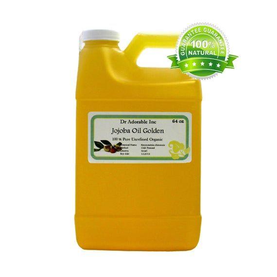 64 oz Pure Golden Jojoba Oil Organic UNREFINED Virgin Cold Pressed Natural #jojobaoil