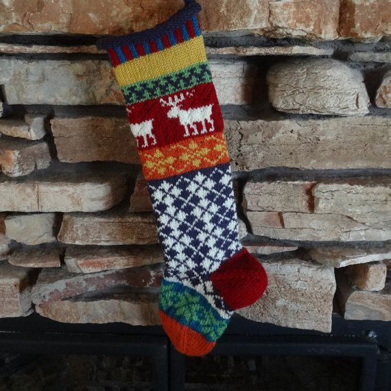 Christmas Stocking, Personalized Knit Christmas Stocking, Knit ...