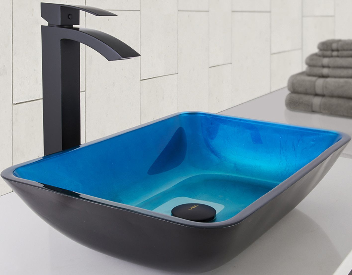 Turquoise Water Solid Textured Black Tempered Glass Rectangular Vessel Bathroom Sink With Faucet Sink Rectangular Vessel Sink Vessel Faucets