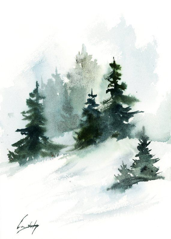 Kiefern Landschaftsmalerei, Winterlandschaft original Aquarellmalerei, ... #watercolorart