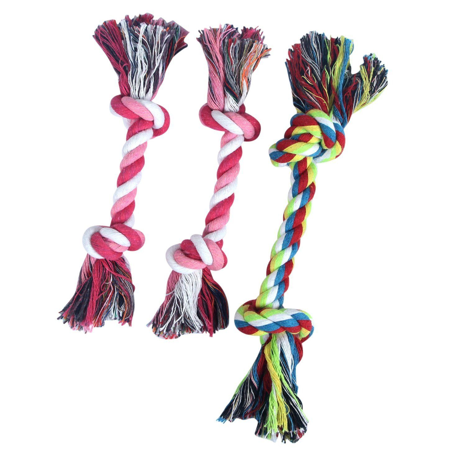Maomao Pet Dog Puppies Chews 2 Knot Cotton Rope Tug Toys Pack Of 3