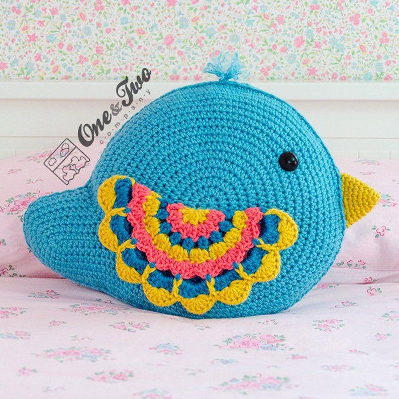 Bliss the Bird Pillow - PDF Crochet Pattern - Instant Download - Forest Bird Pillow