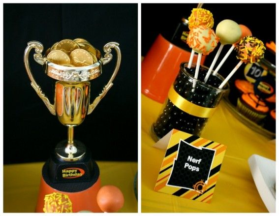 Nerf War party, dollar store trophy and cake pops.
