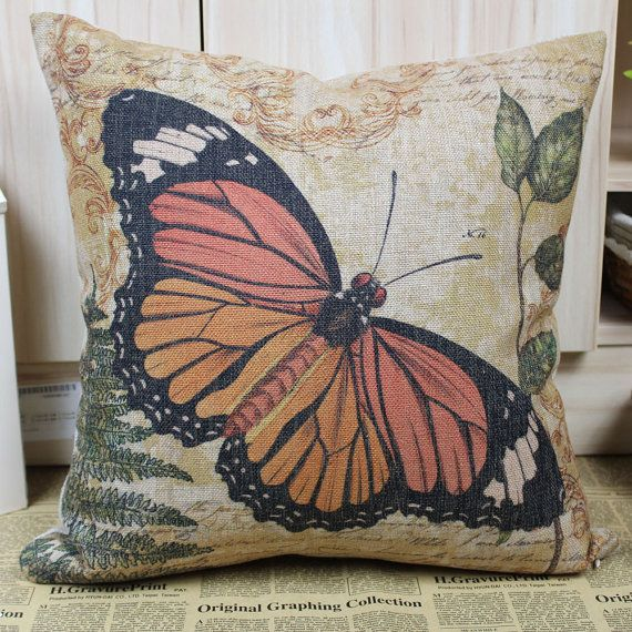 Orange Fashion Vintage Butterfly Linen Cushions by SnowLittleShop, $16.00