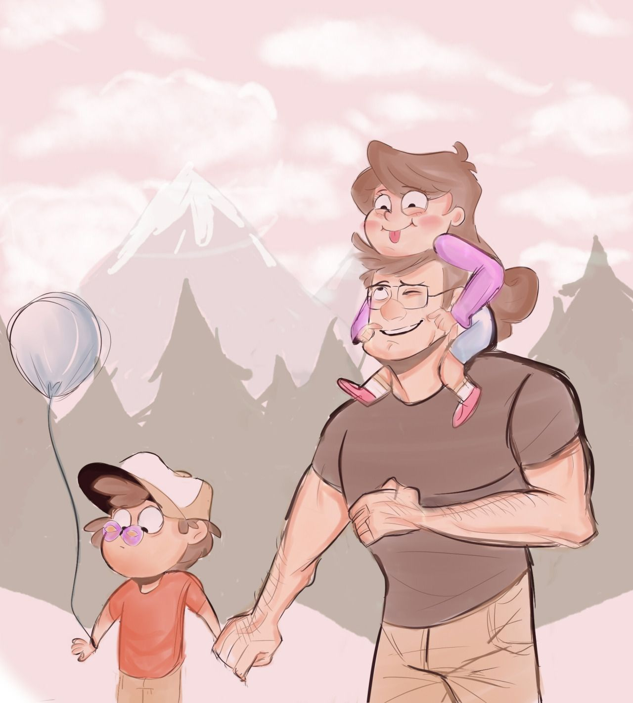 Dipper and Mabel with Stanley.