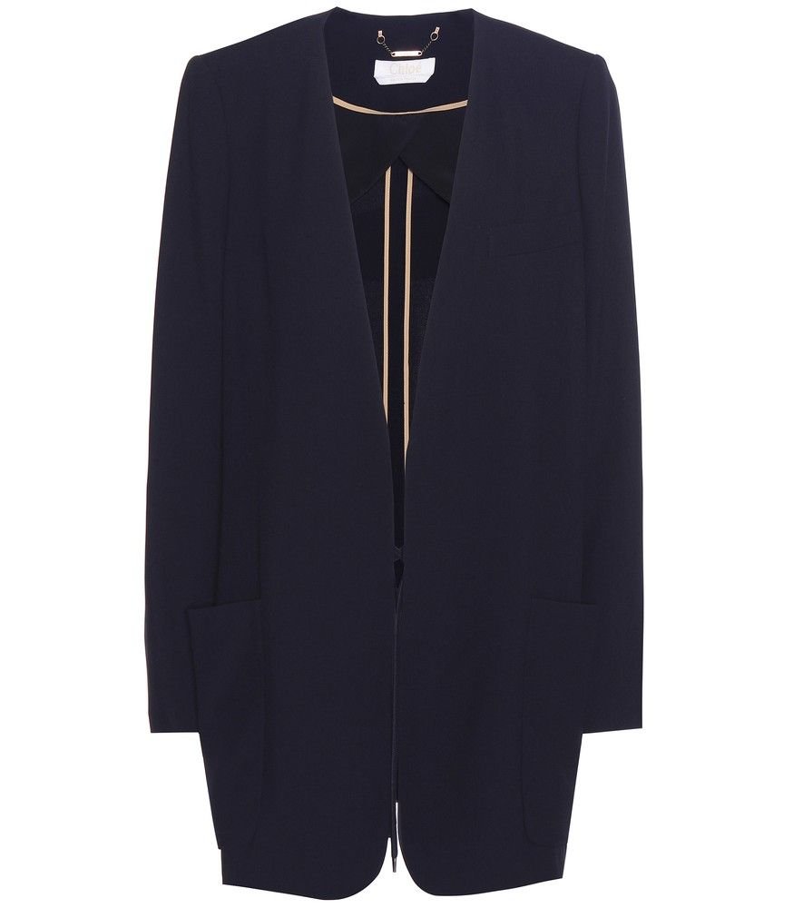 Chloé - Jacket - Opt for slimming style with Chloé's relaxed navy jacket. Self-tie detailing allows for optional ruching at the waist. Style this over a cream-hued silk blouse for a captivating finish. seen @ www.mytheresa.com