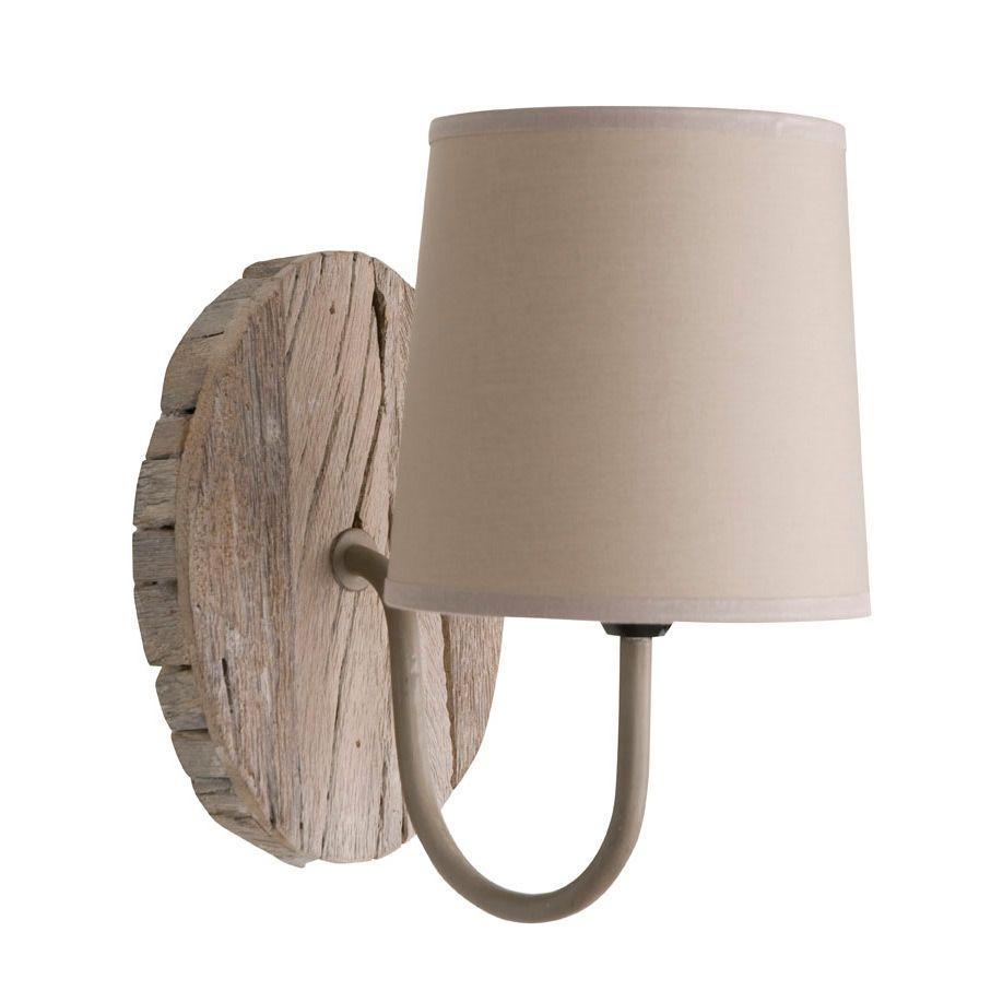 applique col de cygne en bois avec abat jour coton hauteur 24cm rekup corep luminaire. Black Bedroom Furniture Sets. Home Design Ideas