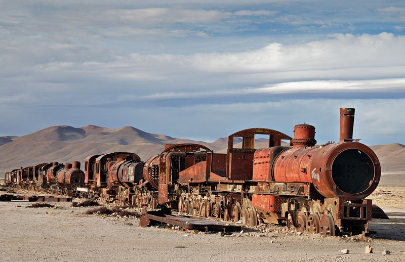 Cementerio de trenes, Uyuni, Bolivia. Many jeep tours stop there for a few minutes. However, try to get there during late afternoon, when the light is very nice and there will probably be nobody around. I want to see this myself.