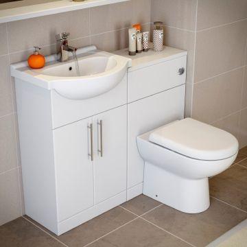 Essentials White Gloss Vanity Unit Basin Toilet 1150mm Width Compact Range Malenkij Tualet Dizajn Vanny Malenkaya Vannaya Komnata