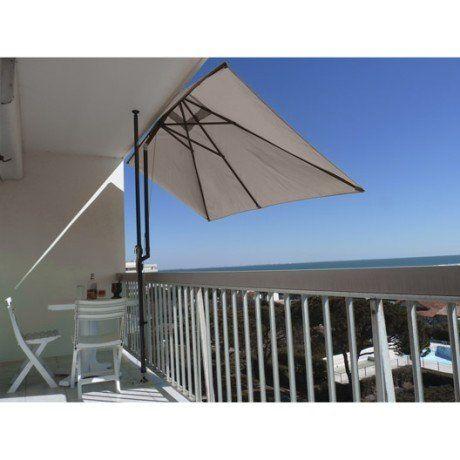 Parasol balcon léo taupe rectangulaire l 300 x l 150 cm