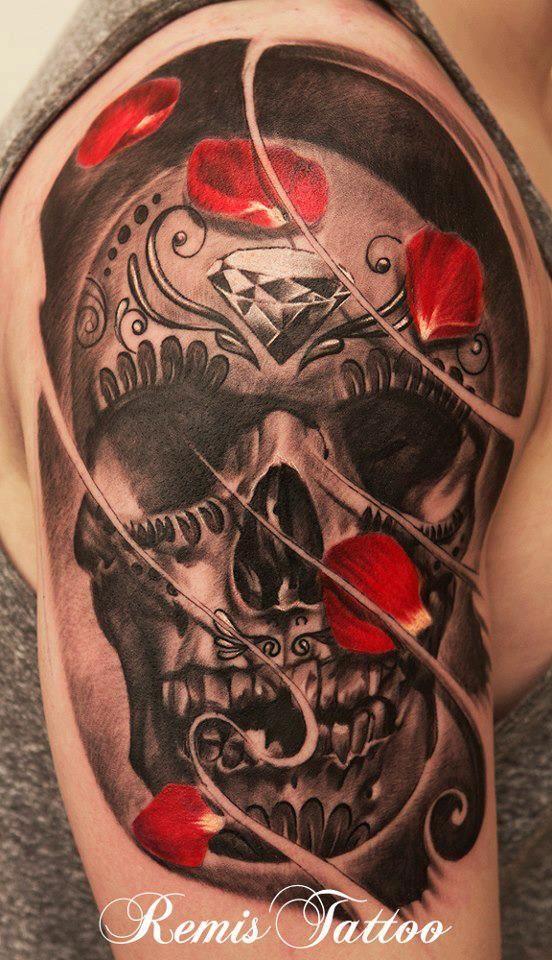 Bad ass skull with rose petals done by Artist Remis Cizauskas Dublin Ireland.