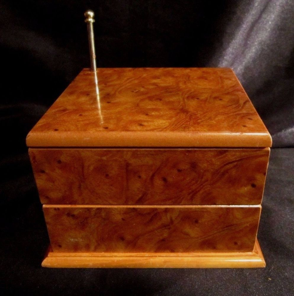 LACQUERED WOOD JEWELRY BOX wBurlWood Style Grain Swiveling
