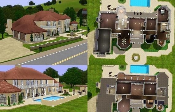 Mansion floor plans 570 368 mansion floor for Sims 3 houses plans