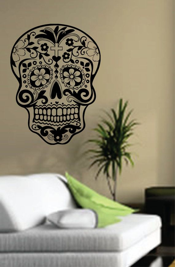 Sugar Skull Wall Vinyl Decal Sticker Art Graphic Sticker Sugarskull. $17.00, via Etsy.