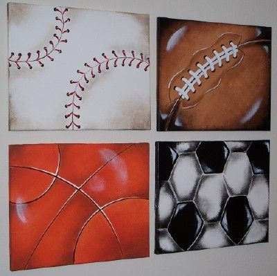 Sports Balls Wall Art Paintings 16x20 In Per Canvas Boys