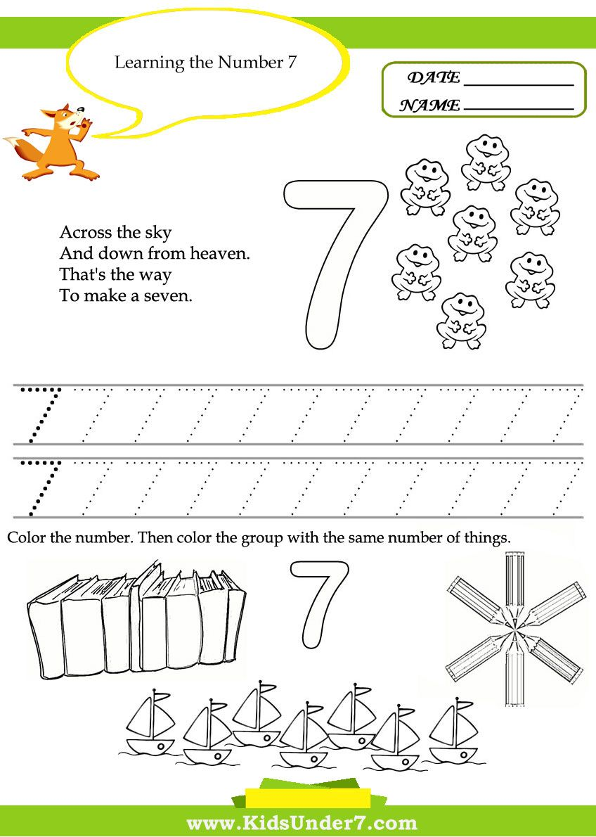 worksheet Ways To Make A Number Worksheet learning the number 7 jpg pixels preschool pinterest kids under free printable kindergarten worksheets