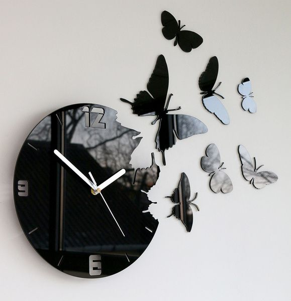 horloge murale papillons horloges murales horloge et murale. Black Bedroom Furniture Sets. Home Design Ideas