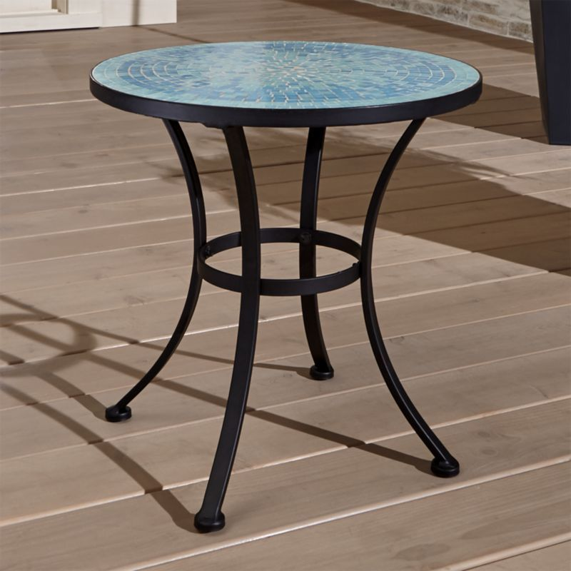 Mosaic Blue Side Table Blue Side Table Patio Lounge Furniture Glass Side Tables