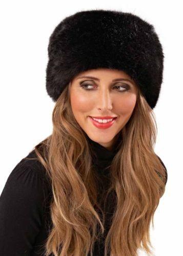 Luxury Ladies Faux Fur Hat Russian Style Cossack Pillbox Winter Fake Fur
