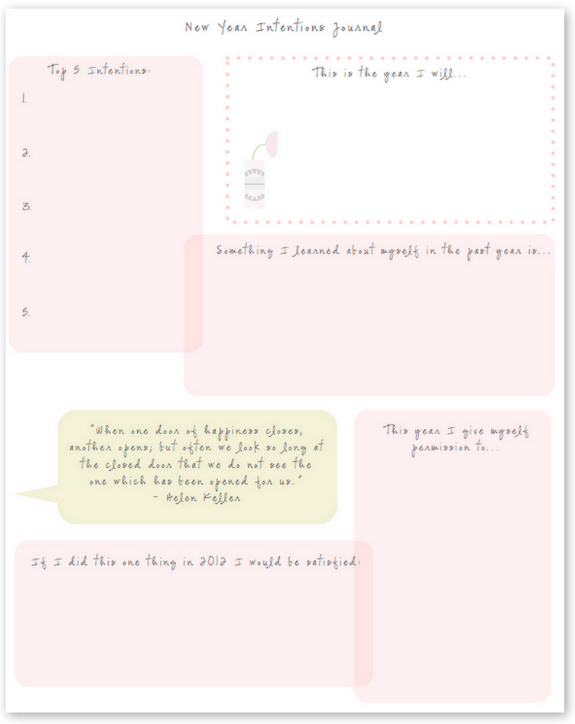 new year intentions journal free printable printables