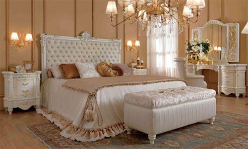 Luxus Schlafzimmer Set Weiss Lack Furnier Glanz Klassische  Italienische Stilmoebel