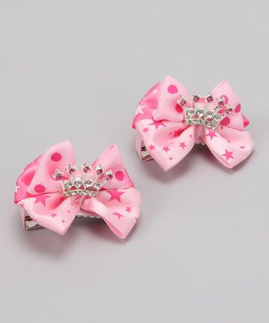 Take a look at this Sparkle and Heart Light Pink Star & Polka Dot Tiara Bow Set by Pretty Princesses Collection on #zulily today!