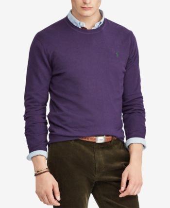 f2287aec787d9 Polo Ralph Lauren Men s Merino Wool Crew-Neck Sweater - Elizabethan Purple  XS