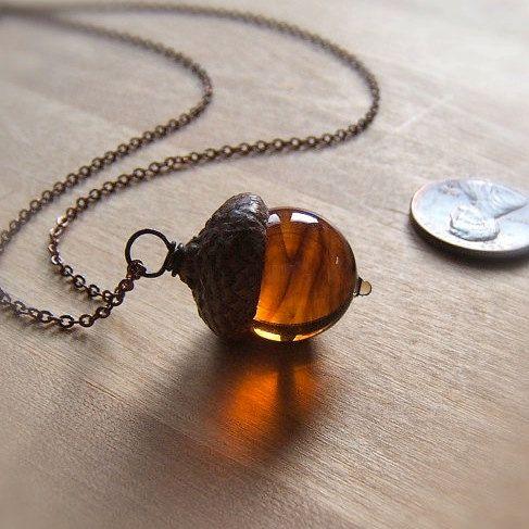 Glass Acorn Necklace in Dark Streaky Transparent Topaz by Bullseyebeads on Etsy, $28.00
