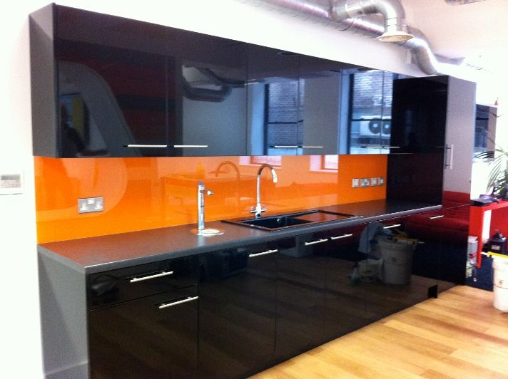 Orange back painted glass kitchen splash back. | DAG Inter Ltd ...