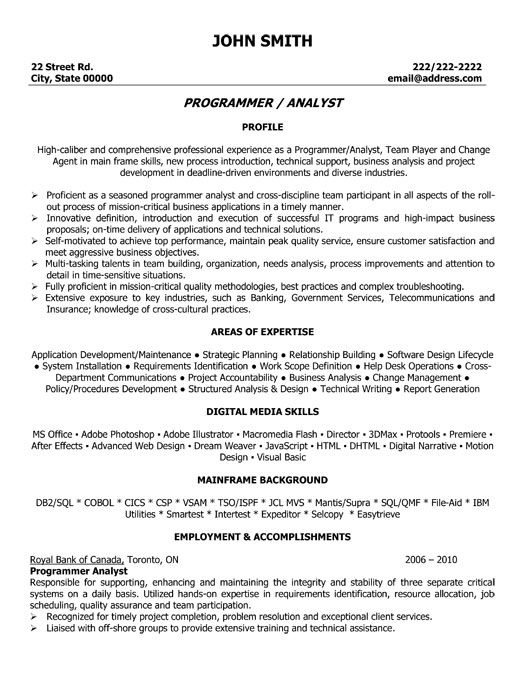 Click Here to Download this Program Analyst Resume Template! http - software programmer sample resume