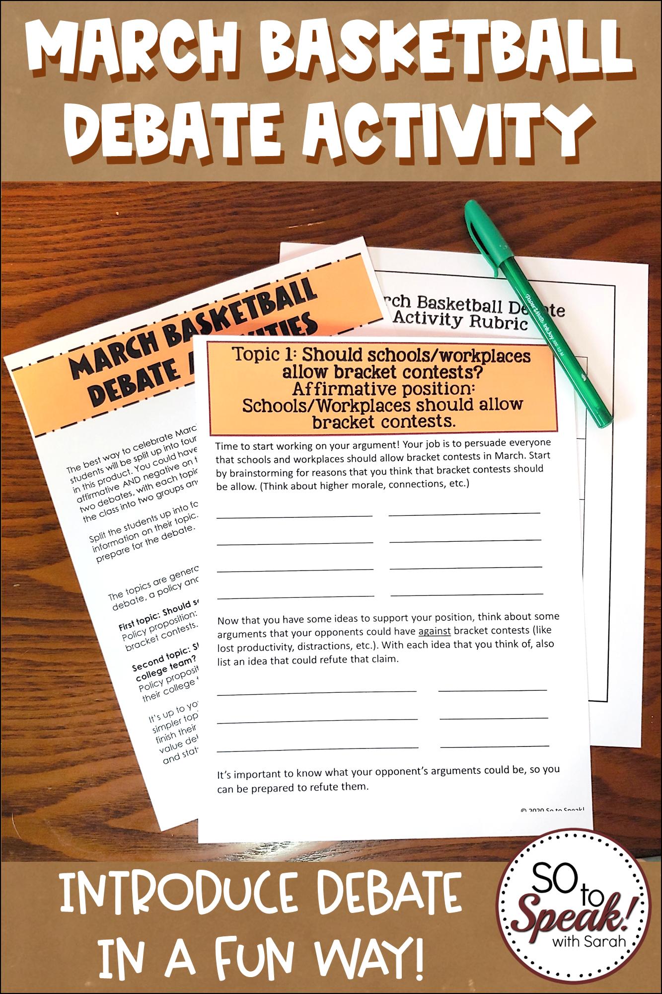 March Basketball Debate Activity
