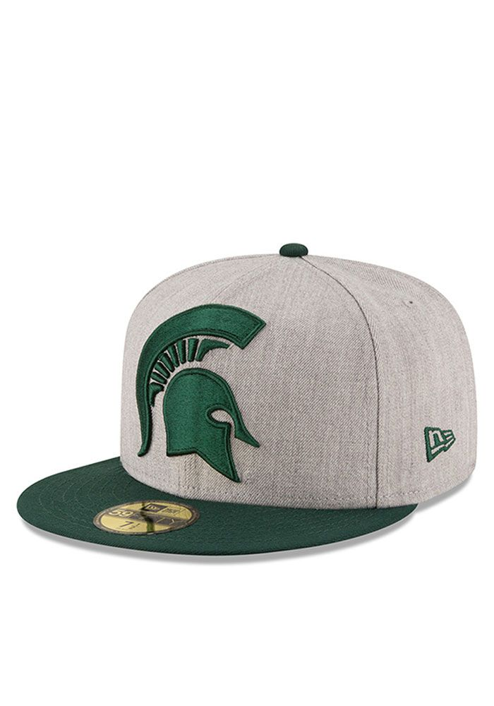 sports shoes d4261 46dd9 New Era Michigan State Spartans Mens Grey Heather Grand 59FIFTY Fitted Hat,  Grey, WOOL BLEND, Size 7 1 8