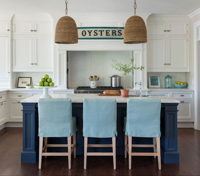 Coastal White Kitchen With Navy Blue Island The Navy Blue Island