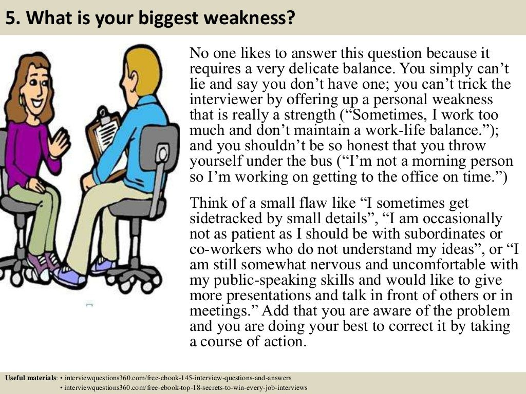 5. What is your biggest weakness? No one likes to answer this ...