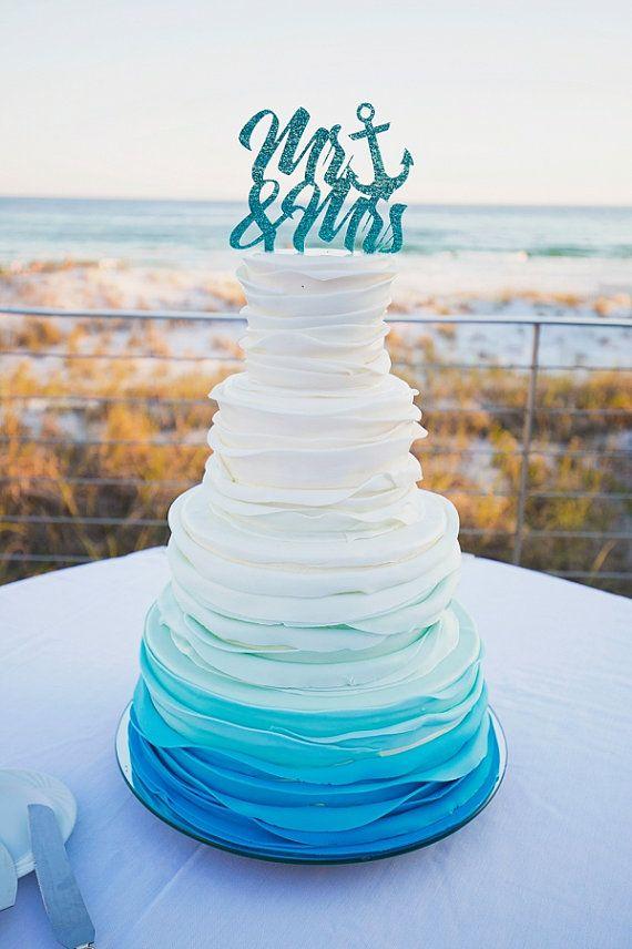 Nautical Cake Topper Mr & Mrs Wedding Cake Topper by ZCreateDesign