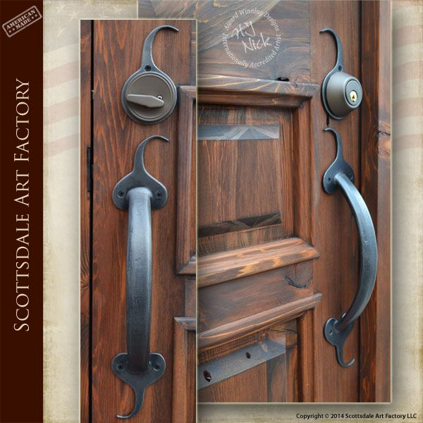 Wrought Iron Door Handles Custom American Made HH008A solid