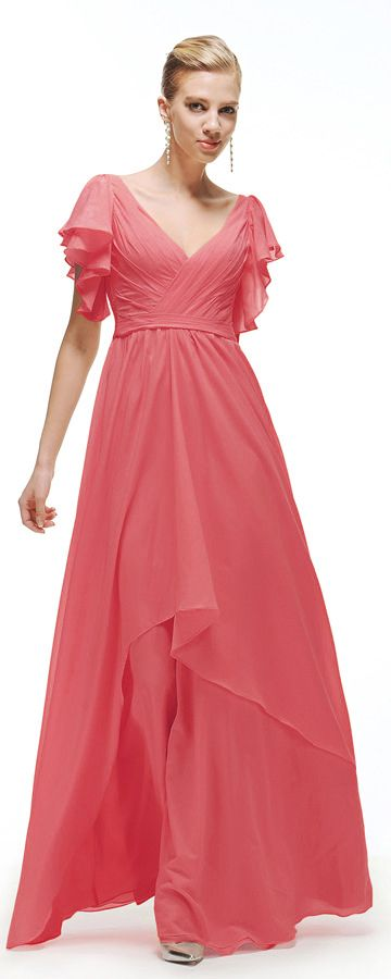 Coral bridesmaid dress with sleeves modest bridesmaid ...