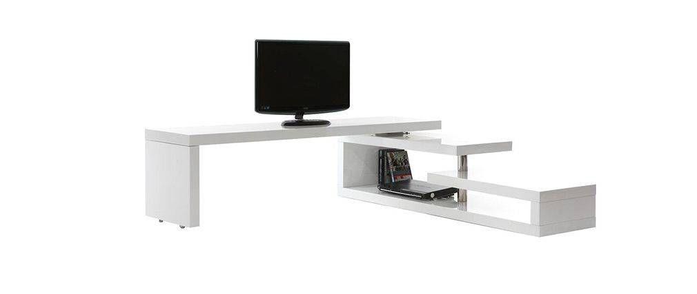 Meuble Tv Design Laque Brillant Blanc Pivotant Max V2 Miliboo Mobili Tv Mobili Design