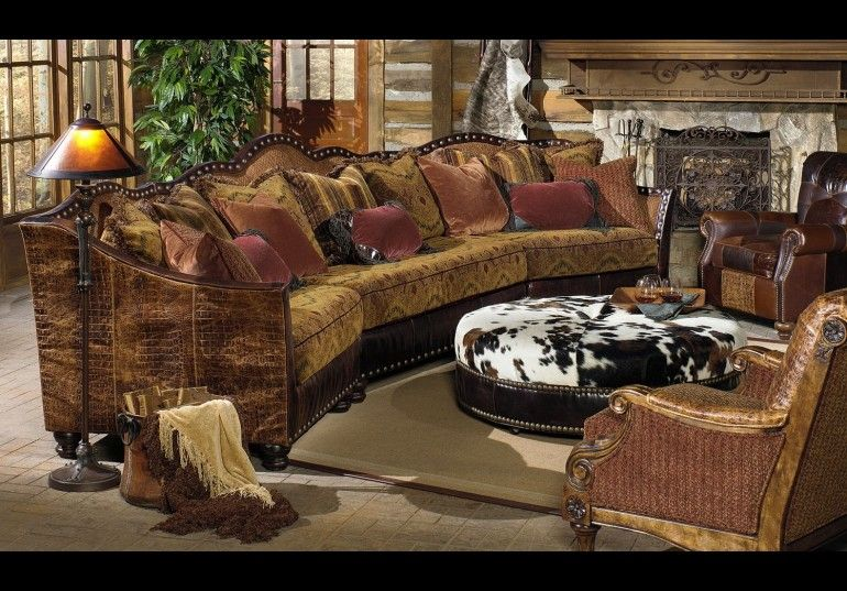 01 Western Furniture Custom Sectional Sofa Chairs Hair Hide Ottoman Western
