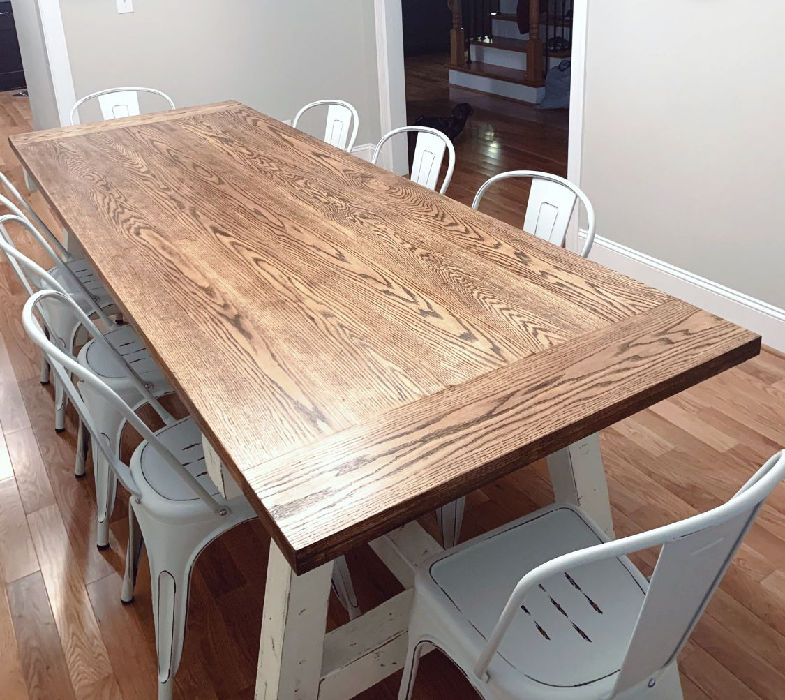 Farmhouse Dining Table In 2020 Rustic Kitchen Tables Large Dining Room Table Kitchen Table Oak