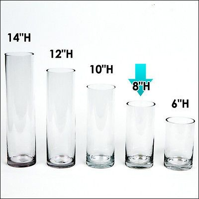 """Cylinder Glass Vase Wholesale H-8/"""" Opening Diameter Clear Glass 12 pcs 4/"""""""