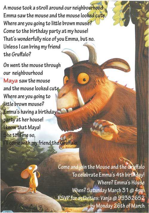 Gruffalo Birthday Invitation Wording