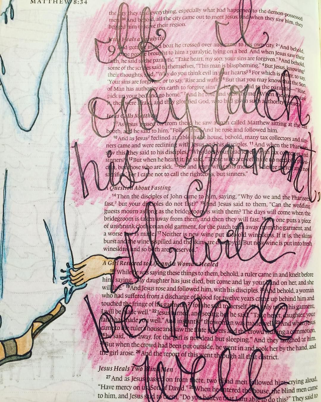 If I only touch His garment... #matthew8 #biblejournaling ...