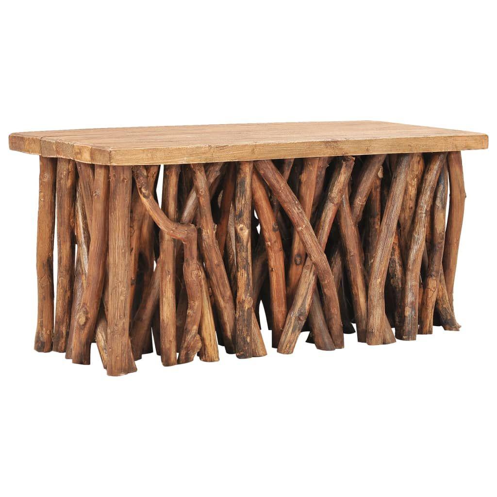 Couchtisch 100x40x47,5 cm Massives Altholz und Teakholz, Beistelltisch, Kaffeetisch, Sofatisch,Wohnzimmertisch